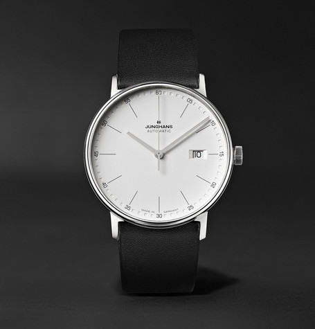 Form A 40Mm Automatic Stainless Steel And Leather Watch Black