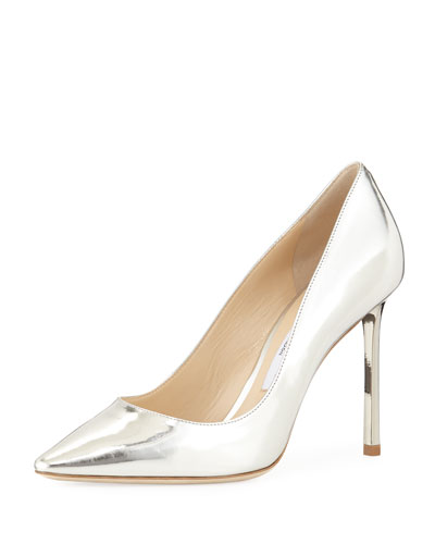 Jimmy Choo Romy Metallic Leather 100Mm Pump Silver oRJBiE5