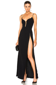 Thierry Mugler Crepe High Slit Gown In Black Ki64S