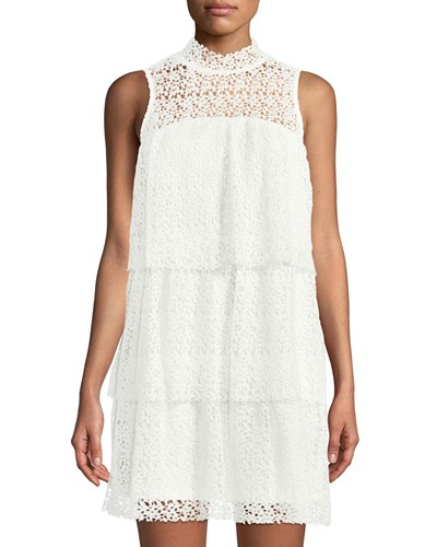 Lace Ivory Neck Dress philosophy Mock Tiered Mini Ruffle BUEnnTqw