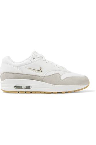 Nike Air Max 1 Premium Suede Trimmed Leather Sneakers White 2OkuEyizr