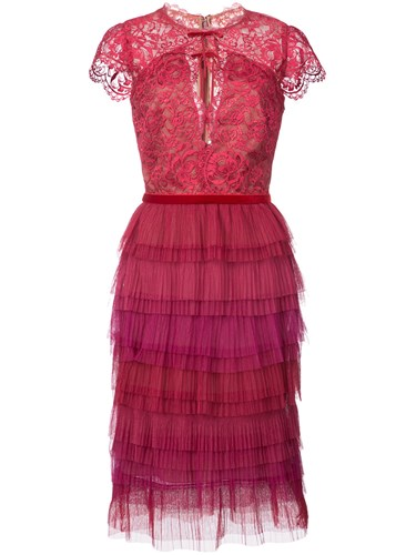 Marchesa Notte Tiered Lace Dress Pink And Purple ZLKnVJsm