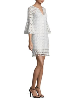Trina Turk Loomis Lace Bell Sleeve Shift Dress White Wash Xz1U9