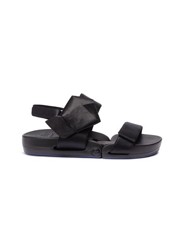 Figs By Figueroa 'Figulous' Bow Silk Satin Slingback Sandals Black e0TGPgNN
