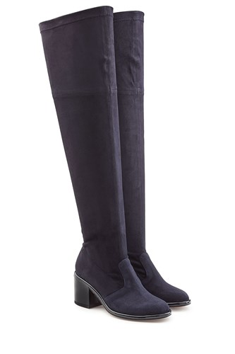 Robert Clergerie Suede Over Knee Boots With Patent Leather Heel Black A3797w