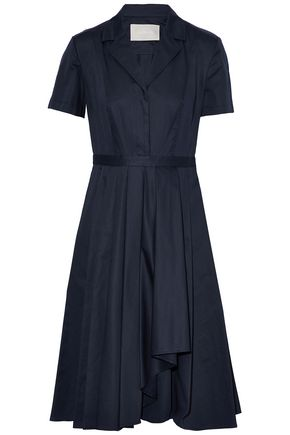 Jason Wu Pleated Cotton Poplin Shirt Dress Storm Blue 66brZCiZ