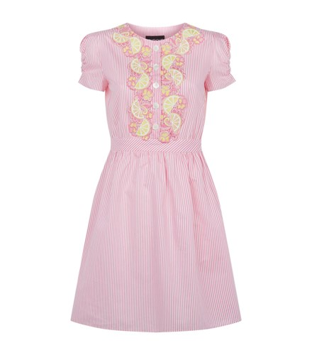 Boutique Moschino Embroidered Lemon Striped Dress Pink YkE5syS1