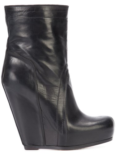 Rick Owens Pull On Wedge Boots Women Calf Leather Leather Rubber 38.5 Black dljz4E3ln4