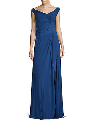 The Gown Ruched Rene Blue Off Ruiz Shoulder qpxnwTHZF