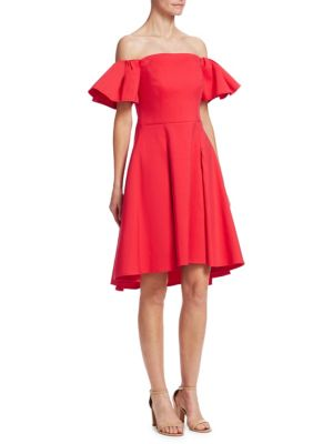 Halston Flounce Sleeve Dress Rose Red UYn7Qy