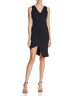 Aqua Asymmetric Ponte Sheath Dress 100 Exclusive Black KYtV8Y