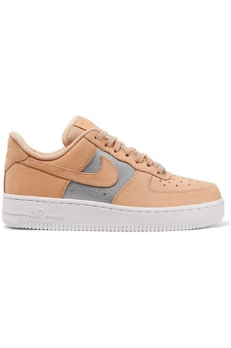 Nike Air Force 1 Nubuck And Metallic Leather Sneakers Sand Usd 06I7QgO9gU