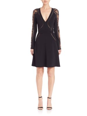 Elie Saab Perforated Knit Fit And Flare Dress Black 15cdl