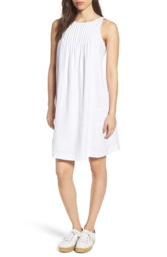 Vineyard Vines Linen Pintuck Swing Dress White Cap xafiU