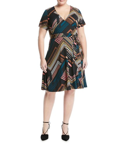 Catherine Catherine Malandrino Plus Short Sleeve Striped Belted Wrap Dress Multi l7mb4