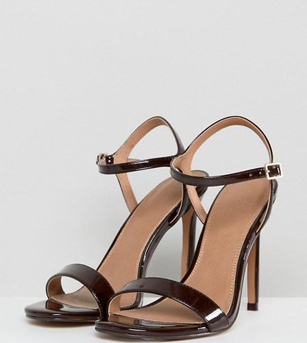 Asos Hands Down Wide Fit Barely There Heeled Sandals Espresso Brown 9DZPj