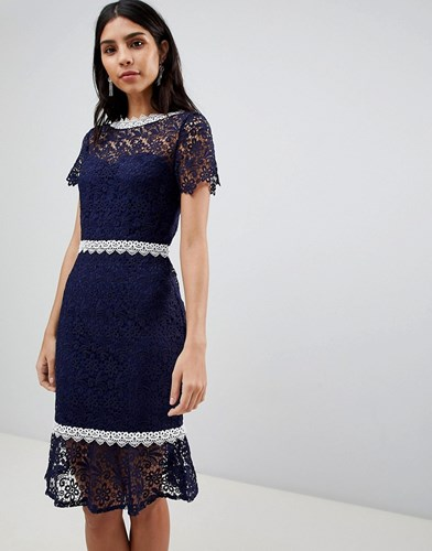 Paper Dolls Crochet Short Sleeve Pencil Dress Navy HUFWxgLg