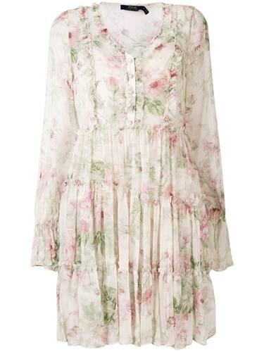 Polo Ralph Lauren Floral Shift Shirt Dress Nude And Neutrals EvzcZ4VHJ