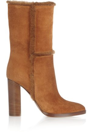 Gianvito Rossi Shearling Trimmed Suede Boots Camel J86Mmrz