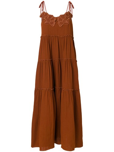 See by Chloe Embroidered Flower Maxi Dress Brown 922uH