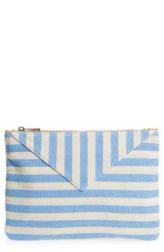 Periwinkle Panel Mini Society Blue Stripe Sole Pouch RYUqW