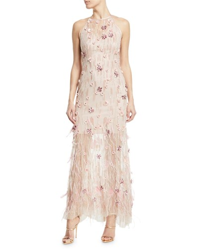 Elie Tahari Amia Sleeveless Embellished Feather Dress Aura HtisxI6VfW