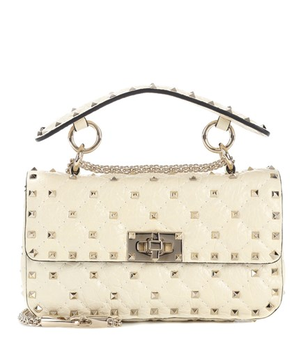 Valentino Garavani Rockstud Spike Leather Shoulder Bag White Y9GQKqh9M6