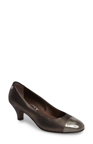 AGL Women's Cap Toe Pump Black Sand Leather mfCEw7LGA