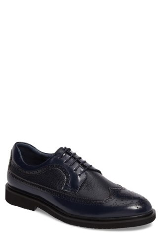 Zanzara Men's Cesar Wingtip Derby Navy Leather LqFrq