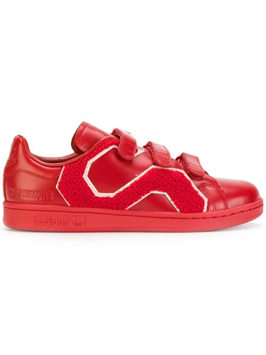Raf Simons Adidas By Straps Sneakers Women Cotton Leather Polyester Rubber 7 Red 9hXeD