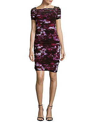 Adrianna Papell Floral Yoke Banded Dress Berry Wine 9mu3Dq0FT