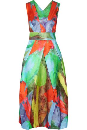 Milly Elisa Pleated Printed Cotton And Silk Blend Satin Midi Dress Green 5P2GB
