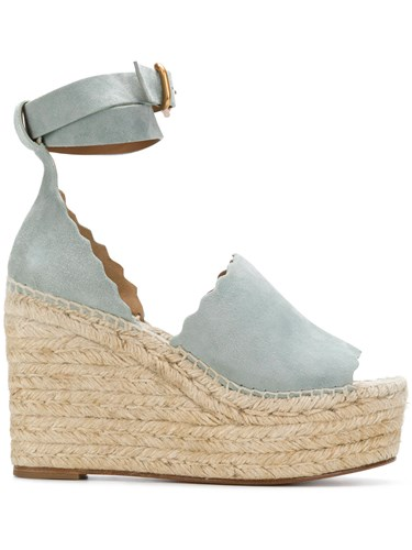 Chloé Lauren Espadrille Sandals Leather Suede Blue gmupwX