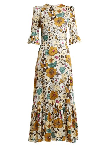 THE VAMPIRE'S WIFE Floral Print Ruffle Dress Multi CNPH4bH
