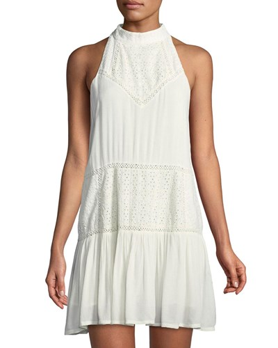 Lovers + Friends Star Chaser High Neck Gauze Mini Dress White UrQgz5fXdT