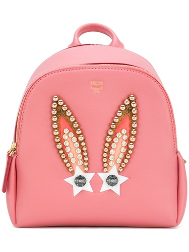 MCM Polke Star Bunny Studded Backpack Leather Pink Purple WhQoiVS