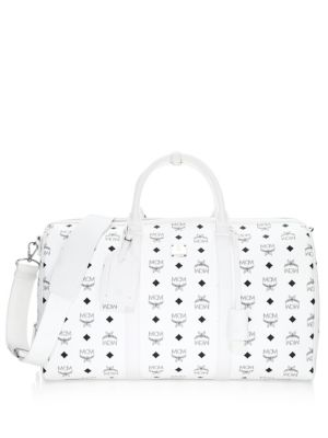 MCM Coated Canvas Travel Bag White mS3kZKzi