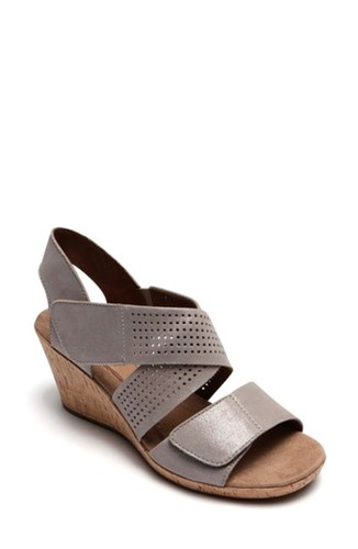 Rockport Strap Hill Sandal Cobb Leather Metallic Wedge Janna Cross Nubuck rgqarPRS