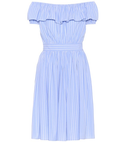 Miu Striped Off The Miu Dress Blue Shoulder Cotton BrfwBnqa