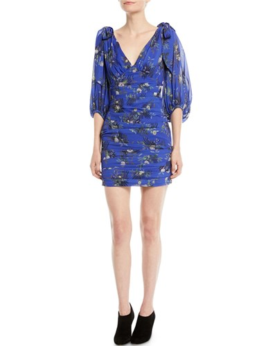 Camilla And Marc Stanwyck Ruched Mini Dress In Peony Print Medium Blue i4Nagcqf