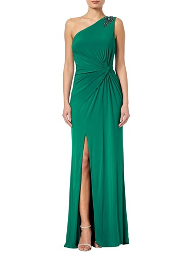 Adrianna Papell Jeweled One Shoulder Draped Gown Vivid Malachite FVuvyWFj8