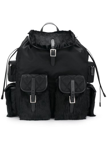 Prada Drawstring Backpack Leather Mink Fur Nylon Black 7AyeQ