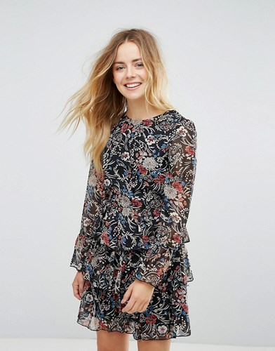 Brave Soul Floral 3 Tier Dress Black dWhL1