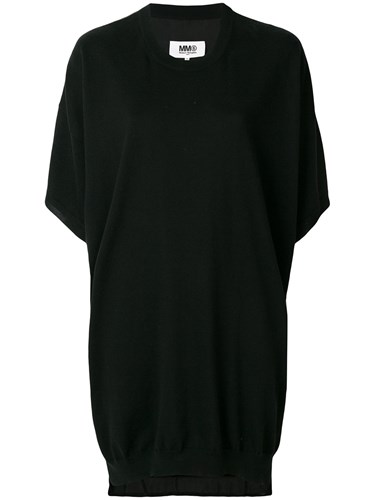 Maison Martin Margiela Mm6 Knitted T Shirt Dress Black svkKfXpda