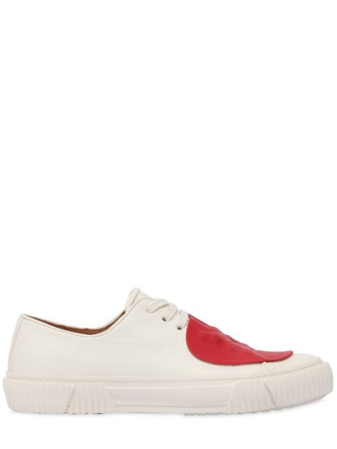 BOTH Rubber Patch Graphic Foxing Sneakers White Red dWsLl