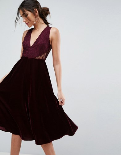 Asos Lace Insert Velvet Panelled Midi Dress Oxblood Red B1cBdz6r