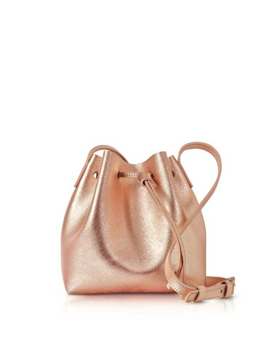 Lancaster Paris Handbags Pur Saffiano Leather Metallic Powder Pink Mini Bucket Bag mFM2ddj