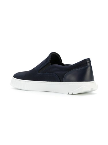 Salvatore Ferragamo Spike Trimmed Slip On Sneakers Blue qcCAX