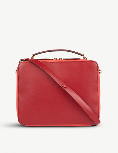 Hindmarch Stack The Anya Leather Double Red Satchel q7RpOpc
