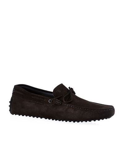Tod's Laced Gommino Suede Driving Shoe Dark Brown FJ4RErW